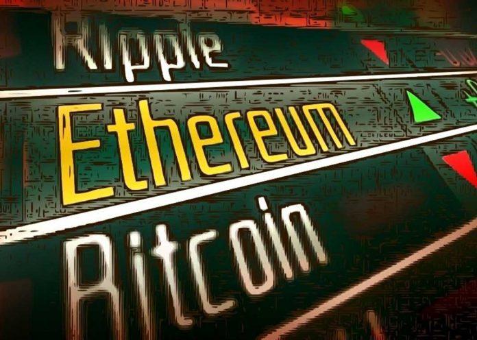 Criptomonedas en banda verde Ethereum en primer lugar de altcoins